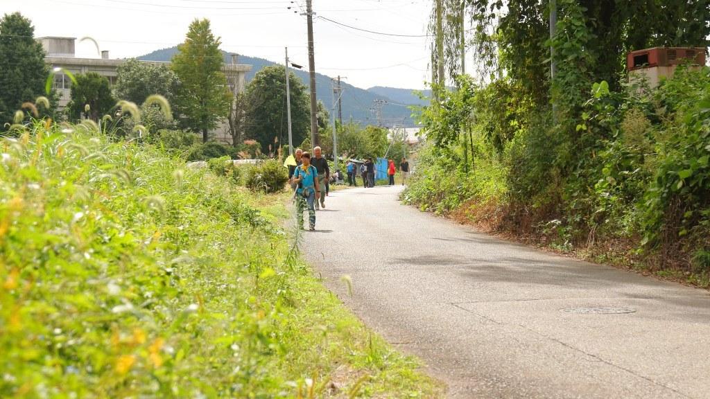 道を歩くツアー参加者たち